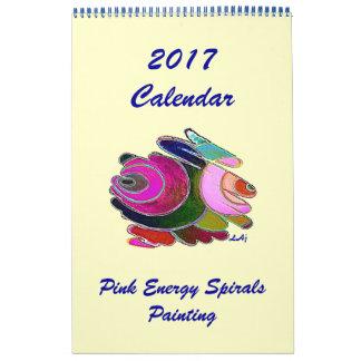 2017 Calendar Art Blue Pink Energy Spiral One Page