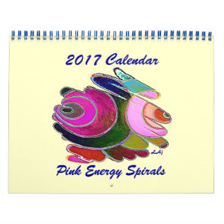 2017 Calendar Art Blue Pink Energy Spirals 2 Page