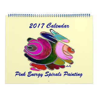2017 Calendar Art Blue Pink Energy Spirals Huge