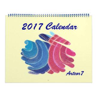 2017 Calendar Blue Pink Chakra Spirals Huge 2 Page