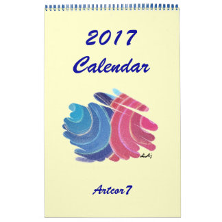 2017 Calendar Blue Pink Chakra Spirals One Page