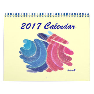 2017 Calendar Blue Pink Twin Spirals Standard