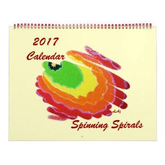 2017 Calendar Color Spinning Spirals Huge 2 Page