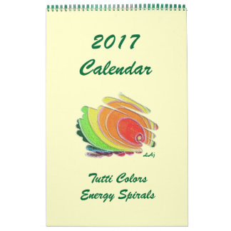 2017 Calendar Colored Energy Spirals Single Page