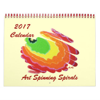 2017 Calendar Colorful Spinning Spirals Two Page
