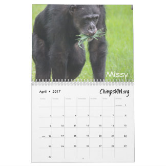 2017 Calendar for Chimpanzee Sanctuary Northwest