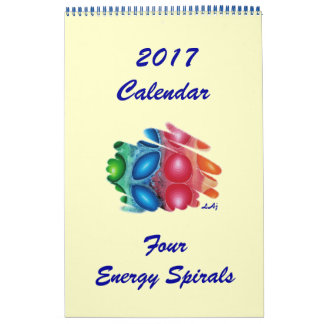 2017 Calendar Four Color Chakras Spirals One Page