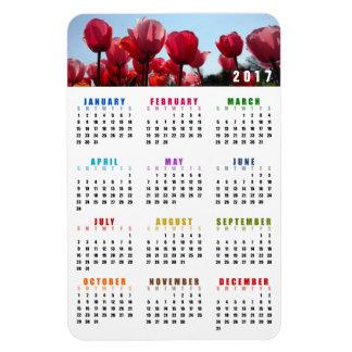 2017 Calendar Magnet - Pink Peach Tulips Garden