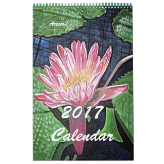 2017 Calendar Pink Waterlily Art Single Page
