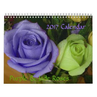 2017 Calendar-Purple & Jade Roses Calendar