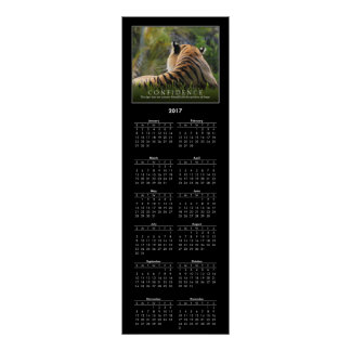 2017 Calendar Tiger Confidence Quote Custom Poster