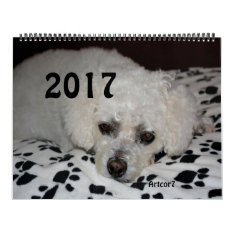 2017 Calendar White Dog Black Paws Huge Two Pages at Zazzle