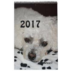 2017 Calendar White Dog Black Paws Single Page at Zazzle