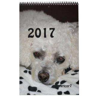 2017 Calendar White Dog Black Paws Single Page