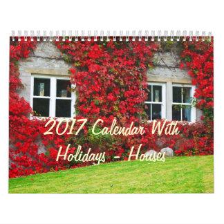 2017 Calendar With Holidays - Houses