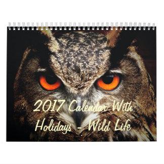 2017 Calendar With Holidays - Wild Life