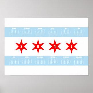 2017 calendario - bandera de Chicago Póster
