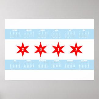 2017 calendario - poster de la bandera de Chicago