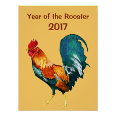 2017 Chinese New Year Of The Red Rooster Poster at Zazzle