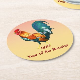 2017 Chinese New Year of the Rooster Paper Coaster