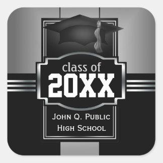 2017 Classy Modern Silver Graduation Year | School Square Sticker