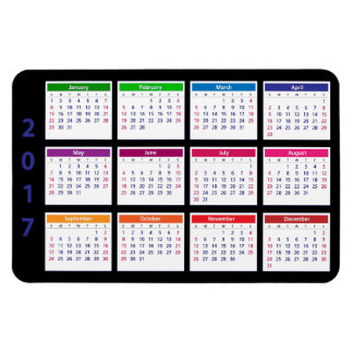 2017 Color Calendar Customizable Large Horizontal Magnet