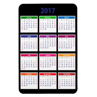 2017 Color Calendar Customizable Large Magnet