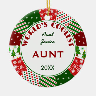 2017 COOLEST AUNT or Any Name Ceramic Ornament