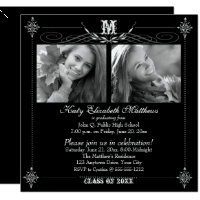 2017 Elegant Two Photo Monogram Graduation Card