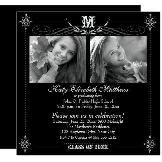 2017 Elegant Two Photo Monogram Graduation Card