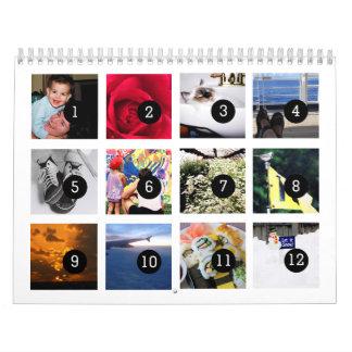 2017 fácil como 1 a 12 su propio blanco del calendarios
