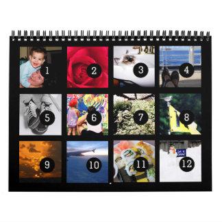 2017 fácil como 1 a 12 su propio negro del calendarios de pared