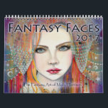 """2017 Fantasy Faces Art Calendar Molly Harrison<br><div class=""""desc"""">&#169; Molly Harrison Fantasy Art Featuring 12 of my abstract/boho/fantasy portrait series.  Most of these paintings were done in watercolor,  ink,  and acrylics.</div>"""