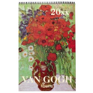 2017 flores de Van Gogh, iris, girasoles, amapolas Calendario De Pared