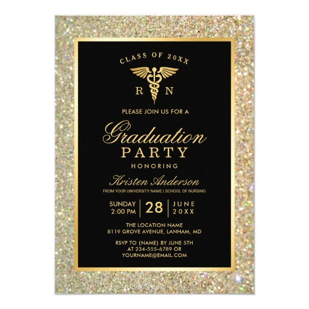 2017 Gold Medical Nursing School Graduation Party Card