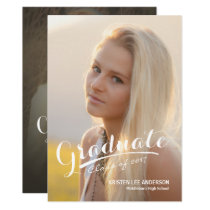 2017 Graduate Elegant Script Brush Stroke Photo Card