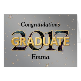 2017 Graduate with Stars Fireworks Silver Gold Card