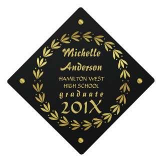 2017 Graduation | Black Gold Laurel Wreath Custom Graduation Cap Topper