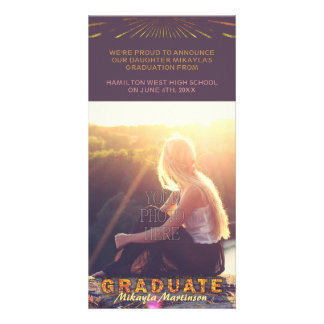 2017 Graduation Boho Chic Purple Sunshine Colors Card