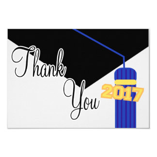 2017 Graduation Cap And Tassel Thank You (Blue) Card