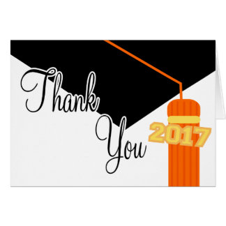 2017 Graduation Cap And Tassel Thank You (Orange) Card