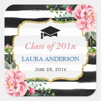 2017 Graduation Floral Black White Stripe Square Sticker