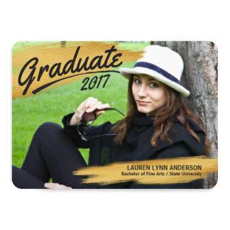 2017 Graduation Painted Gold Black Brush Strokes Card