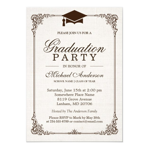 2017 Graduation Party Elegant Frame Ivory Linen Card