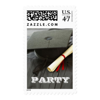 2017 Graduation Party Invitation Cap Gown Postage Stamp