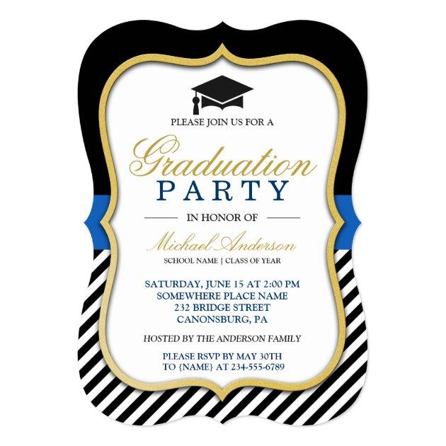 2017 Graduation Party Modern Gold Bracket Frame Card