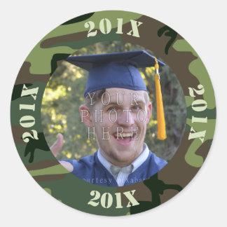 2017 Graduation Party Photo Camouflage   Camo Classic Round Sticker