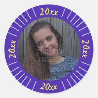 2017 Graduation Party Photo Cute Purple Stripes Classic Round Sticker