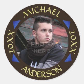 2017 Graduation Party Photo Personalized Modern Classic Round Sticker
