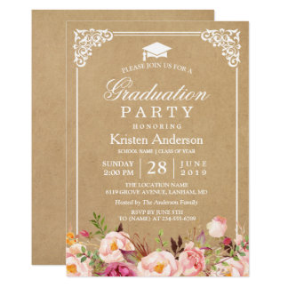 2017 Graduation Party   Rustic Floral Frame Kraft Card